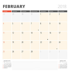 calendar planner for february 2018 design vector image