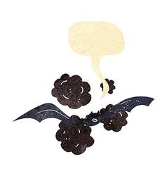 Cartoon bat with speech bubble vector