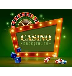 Casino Festive Lights Green Background Poster vector image