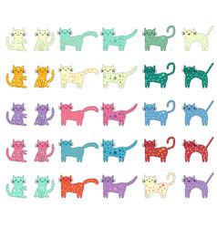 cat different breeds set cute pet animal vector image