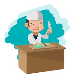 Chef Cooking Cartoon Character Japan vector image