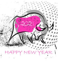 chinese new year 2021 background abstract ox vector image
