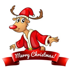 Christmas logo with deer vector image vector image