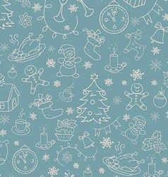 Christmas New Year seamless doodle background vector image