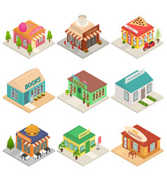 commercial city shops signs 3d icons set isometric vector image
