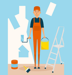 Craftsman worker paint the wall cartoon vector