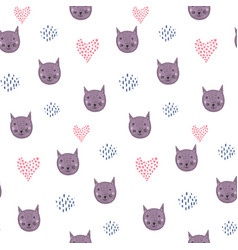cute cartoon pattern with cat heads and hearts vector image