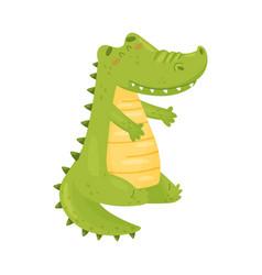 Cute green crocodile is sitting vector
