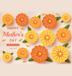 cute happy mothers day background in paper art vector image