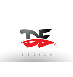 De d e brush logo letters with red and black vector