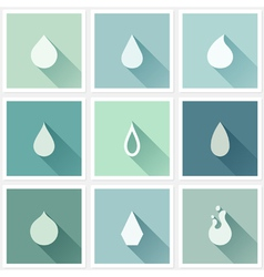 Drops Flat design elements with long shadow vector