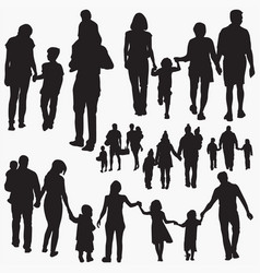family 5 silhouettes vector image