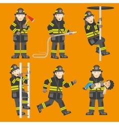 Fireman In Action 6 Figures Set vector image