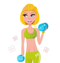 fit blond hair woman weights vector image