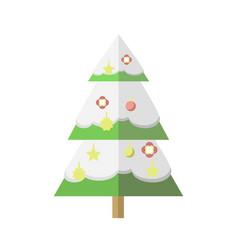 flat decorated cartoon christmas snowy tree vector image