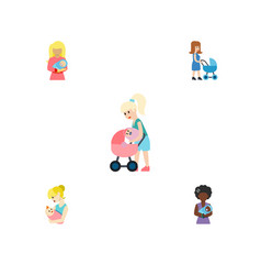 Flat icon parent set of perambulator mother kid vector