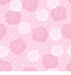 Floral pattern pink roses white polka dots vector