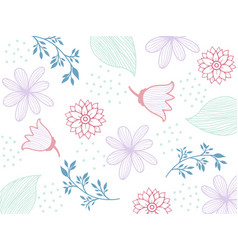 Flowers seamless pattern white silhouettes vector