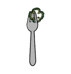 Fresh slice pepper in the fork utensil vector