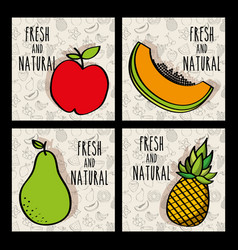 fruits fresh and natural nutrition diet set vector image