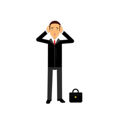 frustrated businessman character holding his head vector image
