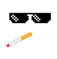 glasses pixel icon pixel art boss or vector image