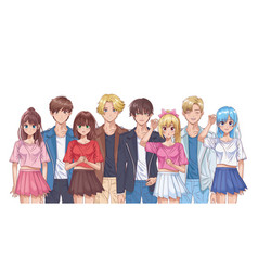 Group young people hentai style characters vector