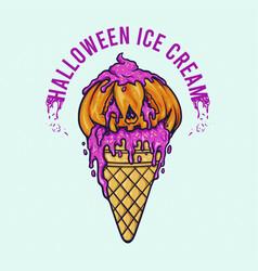 halloween pumpkin ice cream cone vector image