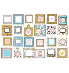hand drawn cute princess frames vintage color vector image
