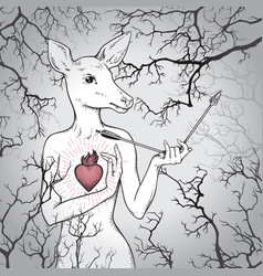 hand drawn deer with human body and burning heart vector image