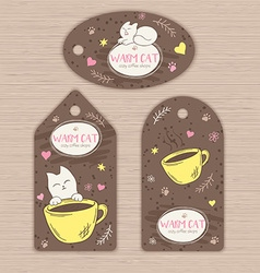 hand drawn set tags with cute cat and cup of vector image
