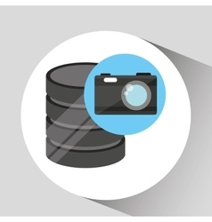 Hand holds data photographic camera icon vector