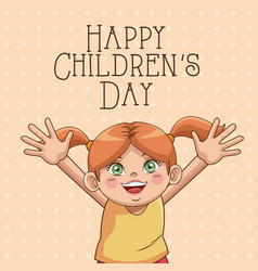 happy children day card cute girl hair ponytails vector image