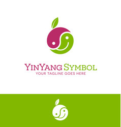 Happy face yin yang fruit logo vector