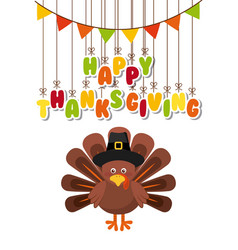 happy thanksgiving celebration poster vector image