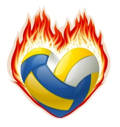 Heart shaped volleyball on fire vector