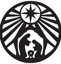 Holy family Christian silhouette icon on white vector