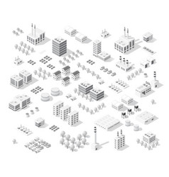 Isometric set city with skyscrapers vector