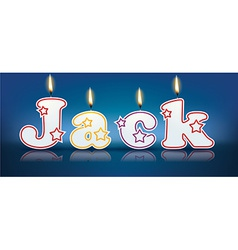 JACK written with burning candles vector