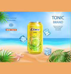 lime juice aluminium can advertising on beach vector image