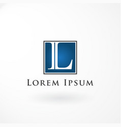 logo design with letter l and line square vector image