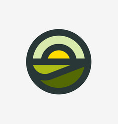 Logo or icon rural landscape with agro field vector