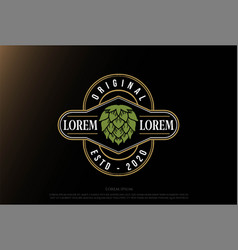 Luxury hop for craft beer brewing brewery emblem vector