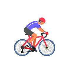 Man cyclist on road vector