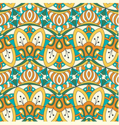 Mandala texture in bright colors seamless pattern vector