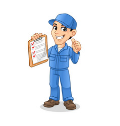 mechanic man holding clipboard with thumbs up hand vector image