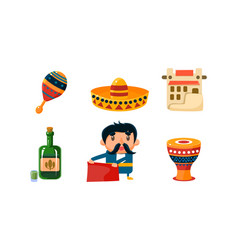 mexico icons set cute mexican cartoon symbols vector image