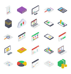Mobile analytics isometric icons pack vector