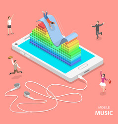 mobile music flat isometric concept vector image