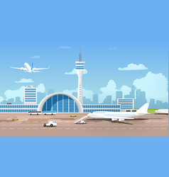 modern airport terminal and runaway cartoon vector image